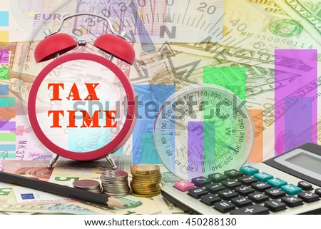 Written word Tax time on clock with compass ,coins and Calculator on money banknotes Euro and Dollars,concept of business planning and finance and savings - stock photo