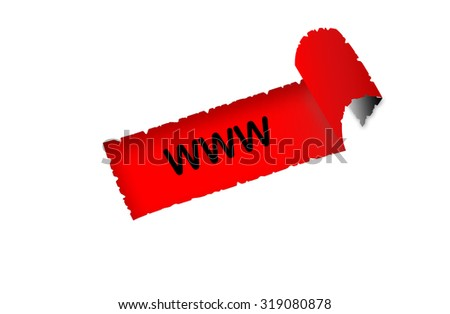 """""""WWW"""" text on red background paper with white paper ripped apart of it - online shopping, marketing and internet concept - stock photo"""