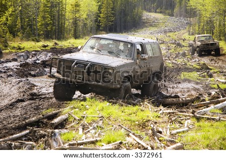 4x4 action through a huge mud bog.