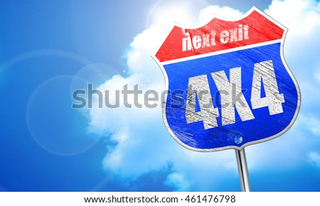 4x4, 3D rendering, blue street sign