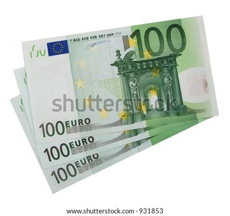 3x 100 Euro bills (isolated) - stock photo