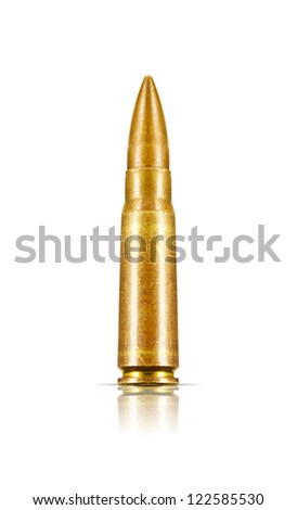 7.62x39mm Assault Rifle Bullets Isolated on White Background