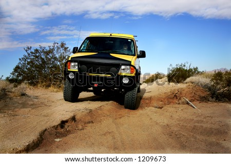 4x4 off road driving, Mojave Desert, Nevada - stock photo
