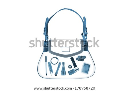 X-ray women hand bag on white background - stock photo