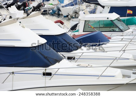 yacht moored in the port - stock photo