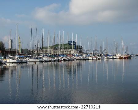 Yachts. - stock photo