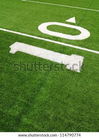 10-yard line on a football field - stock photo