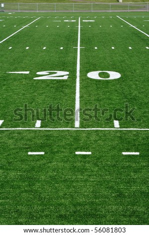 20 Yard Line on American Football Field and Sideline - stock photo