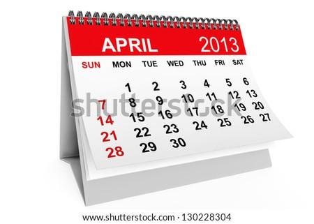 2013 year calendar. April calendar on a white background - stock photo