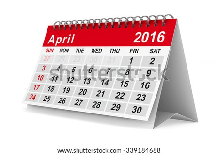 2016 year calendar. April. Isolated 3D image - stock photo