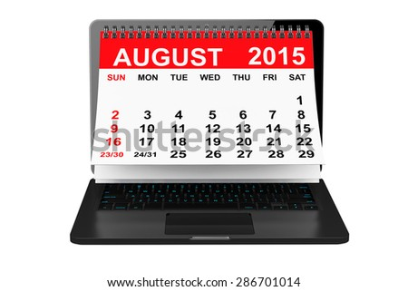 2015 year calendar. August calendar over laptop screen on a white background  - stock photo
