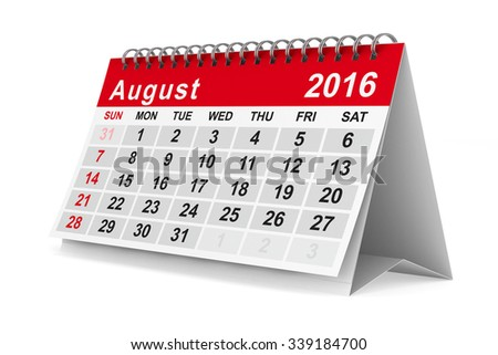 2016 year calendar. August. Isolated 3D image - stock photo