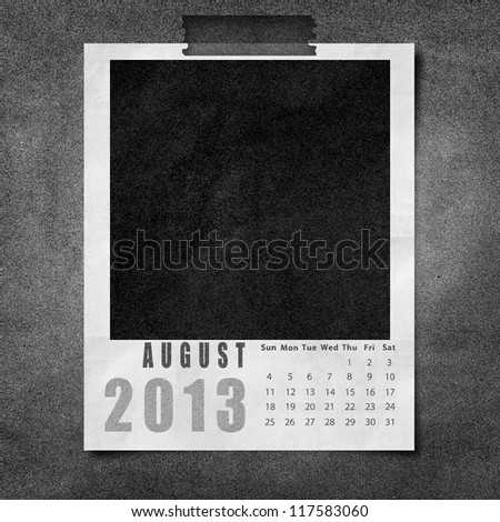 2013 year calendar August on black paper board background