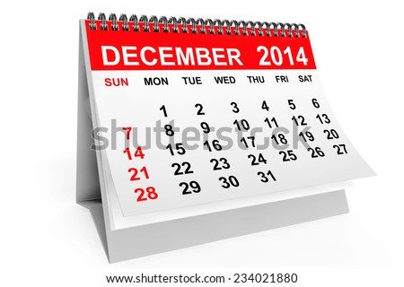 2014 year calendar. December calendar on a white background - stock photo