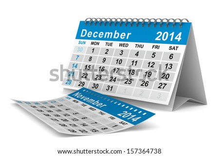 2014 year calendar. December. Isolated 3D image  - stock photo