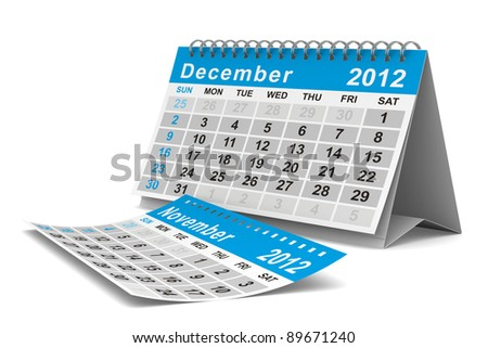 2012 year calendar. December. Isolated 3D image - stock photo
