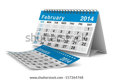 2014 year calendar. February. Isolated 3D image  - stock photo