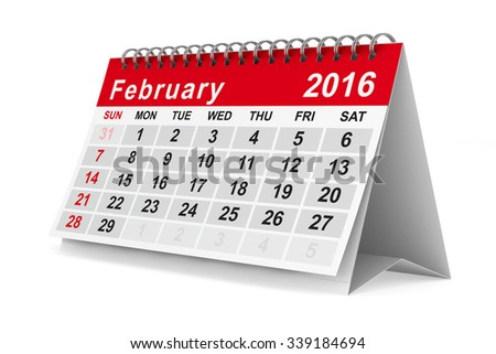 2016 year calendar. February. Isolated 3D image - stock photo
