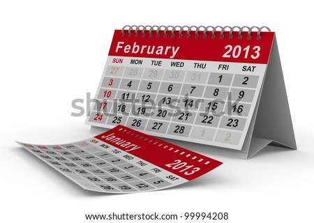 2013 year calendar. February. Isolated 3D image - stock photo
