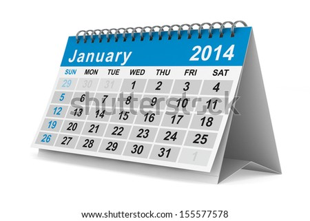 2014 year calendar. January. Isolated 3D image - stock photo