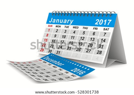 2017 year calendar. January. Isolated 3D image