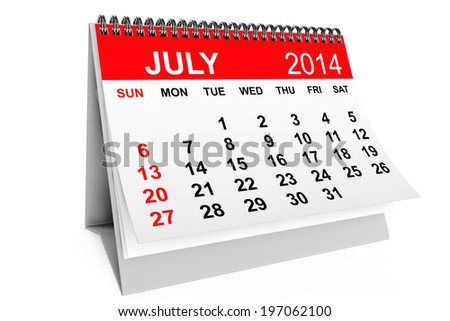 2014 year calendar. July calendar on a white background