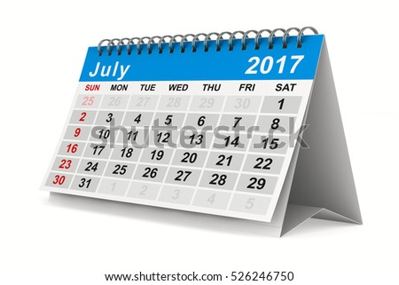 2017 year calendar. July. Isolated 3D image.