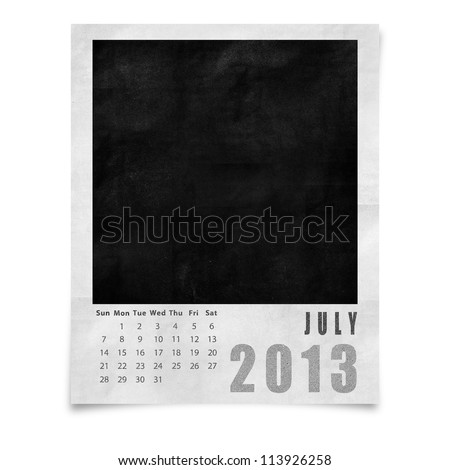 2013 year calendar ,July on blank photo frame isolated on white