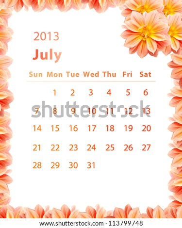 2013 year calendar ,July with Pink Flower frame design