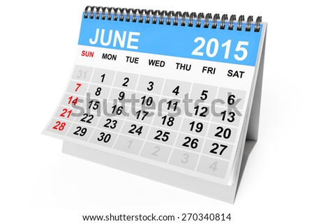 2015 year calendar. June calendar on a white background