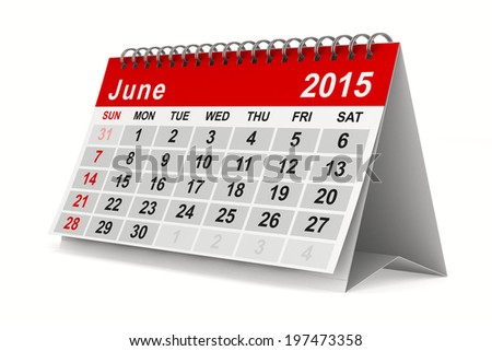 2015 year calendar. June. Isolated 3D image - stock photo