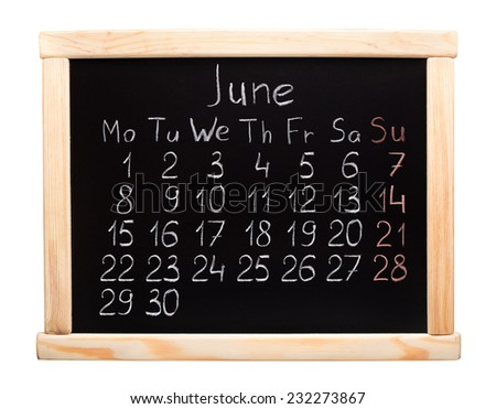 2015 year calendar. June. Week start on monday