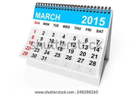 2015 year calendar. March calendar on a white background  - stock photo