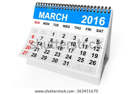 2016 year calendar. March calendar on a white background  - stock photo
