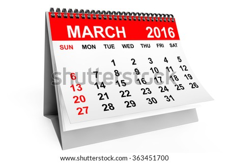 2016 year calendar. March calendar on a white background