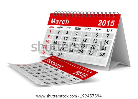 2015 year calendar. March. Isolated 3D image - stock photo