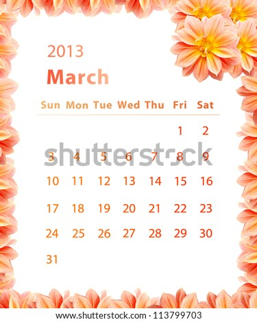 2013 year calendar ,March with Pink Flower frame design
