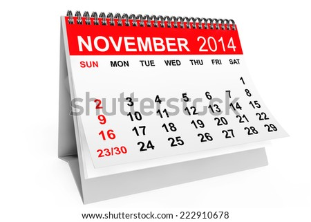 2014 year calendar. November calendar on a white background - stock photo