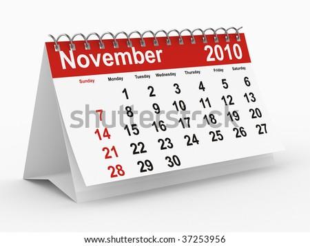 2010 year calendar. November. Isolated 3D image. - stock photo