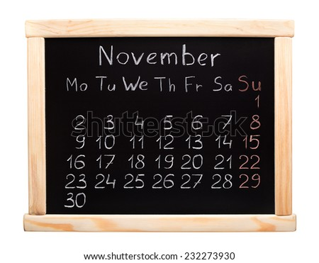 2015 year calendar. November. Week start on monday