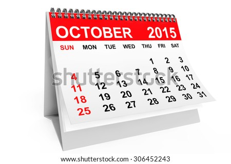 2015 year calendar. October calendar on a white background