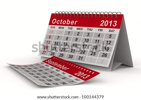 2013 year calendar. October. Isolated 3D image