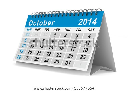 2014 year calendar. October. Isolated 3D image - stock photo