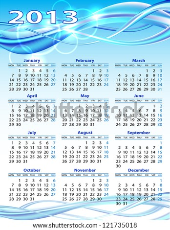 2013 year calendar on blue background - stock photo
