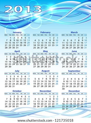 2013 year calendar on blue background - stock photo