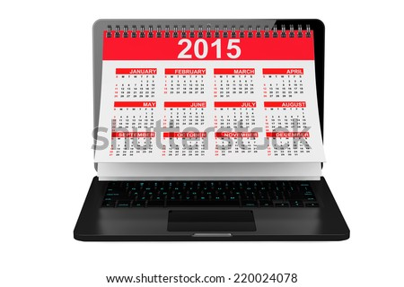 2014 year calendar over laptop screen on a white background