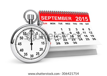 2015 year calendar. September calendar with stopwatch on a white background  - stock photo