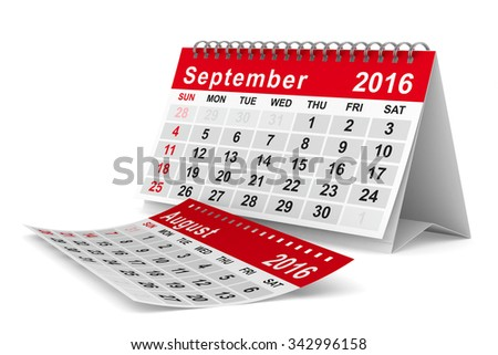 2016 year calendar. September. Isolated 3D image - stock photo