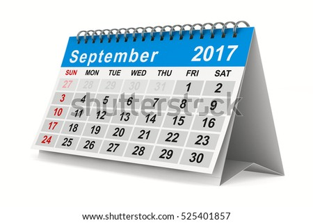 2017 year calendar. September. Isolated 3D image