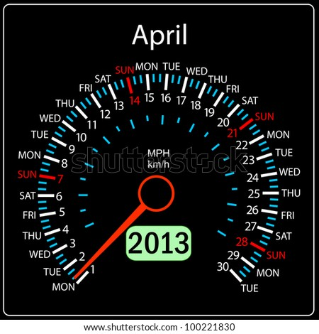 2013 year calendar speedometer car. April. - stock photo